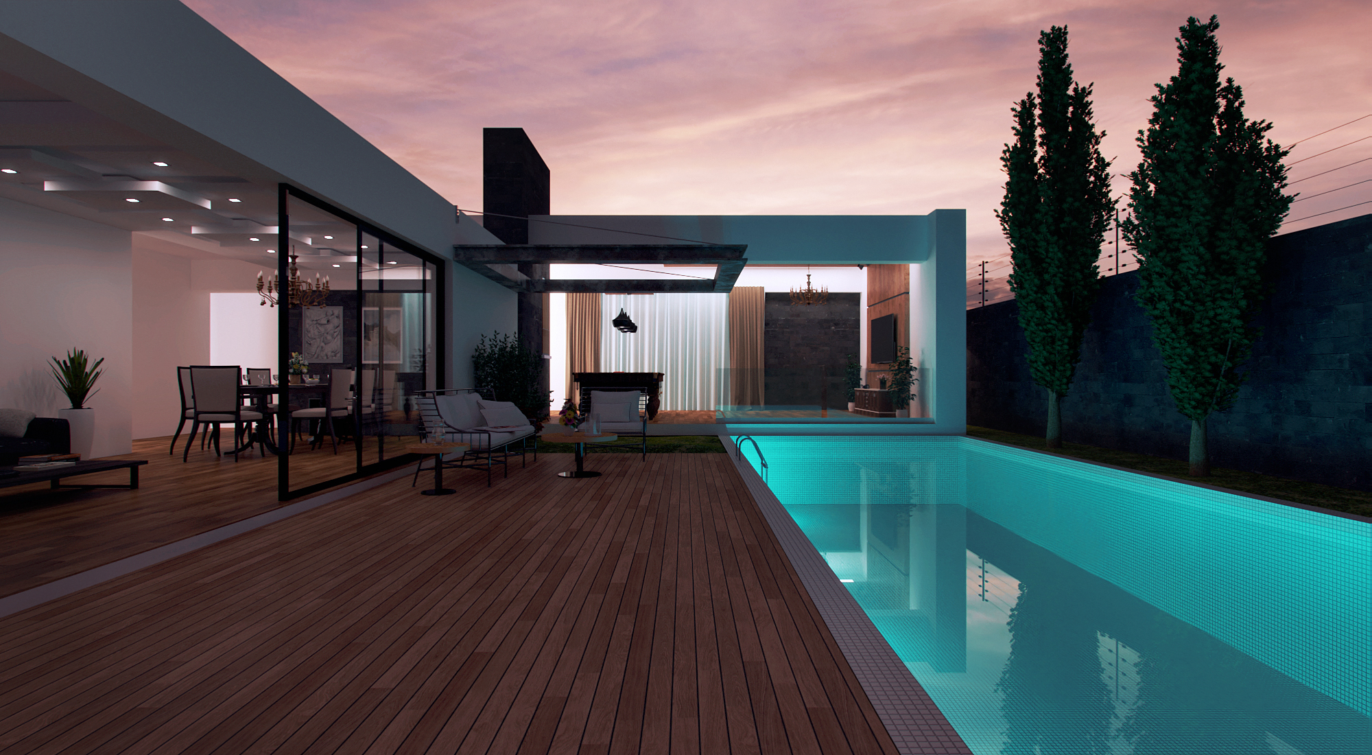Poolside sunset render with ProWalker gpu for SketchUp