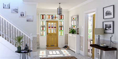 Bright, stained-glass entryway