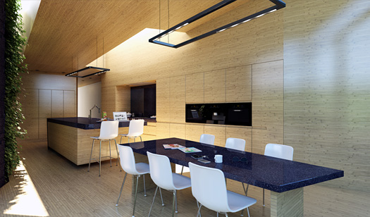 Wood clad kitchen render