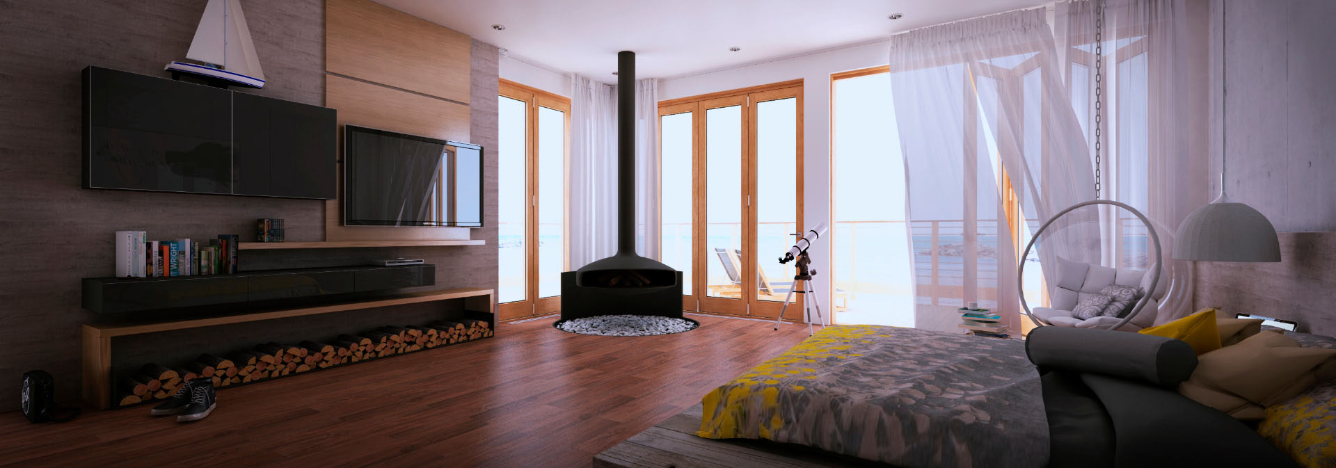 A mid-century bedroom Rendered by Sebastien Raiche in SU Podium